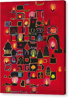 Diwali Diyas Canvas Print by Alika Kumar