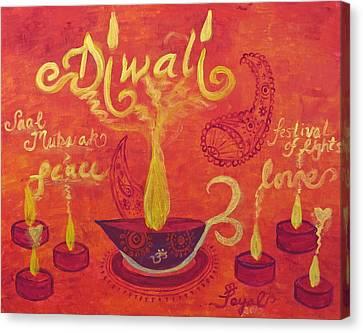 Diwali Lights Canvas Print by Artistic Indian Nurse