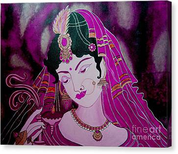Diya Girl				 Canvas Print by Priyanka Rastogi