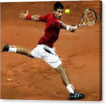 Djokovic French Backhand Canvas Print by Brian Menasco