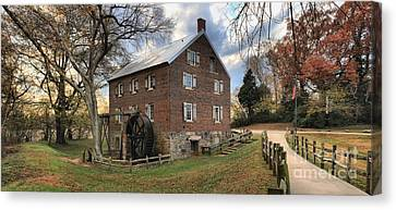 Sloan Park Kerr Grist Mill Panorama Canvas Print by Adam Jewell