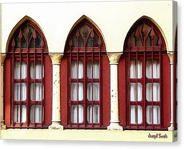 Canvas Print featuring the photograph Do-00368 The 3 Windows Downtown by Digital Oil