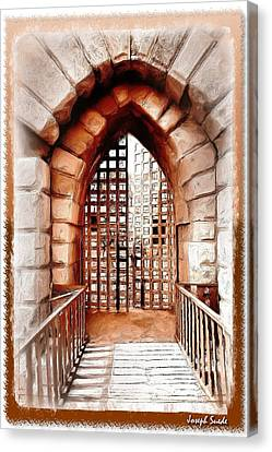 Canvas Print featuring the photograph Do-00424 Portail Of Citadel Sidon by Digital Oil