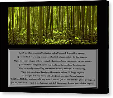 Canvas Print featuring the photograph Do It Anyway Bamboo Forest by David Dehner