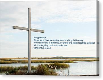 Belin Church Cross At Murrells Inlet With Bible Verse Canvas Print by Vizual Studio