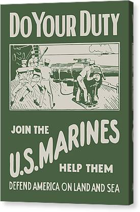 Do Your Duty - Join The U S Marines Canvas Print by God and Country Prints