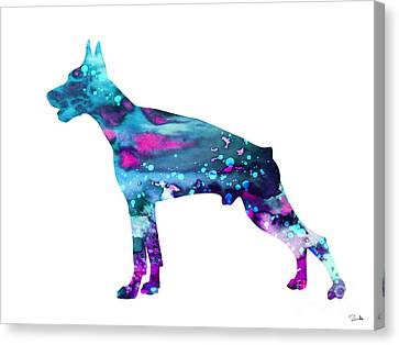 Doberman 3 Canvas Print by Watercolor Girl