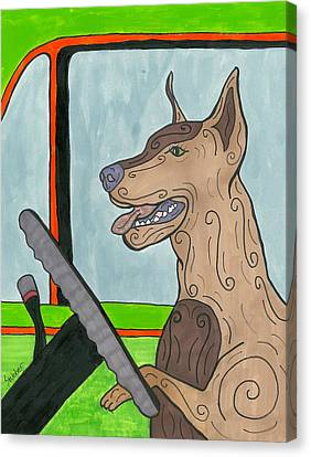 Doberman Driving Canvas Print
