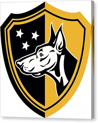 Doberman Guard Dog Stars Shield Canvas Print by Aloysius Patrimonio