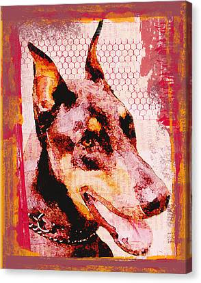 Doberman Love Canvas Print by Lisa Noneman