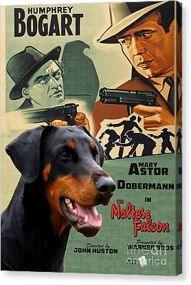 Doberman Pinscher Art Canvas Print - The Maltese Falcon Movie Poster Canvas Print by Sandra Sij
