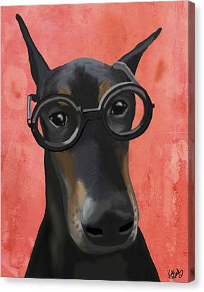 Doberman With Glasses Canvas Print by Loopylolly
