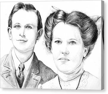 Canvas Print featuring the drawing Dobson Wedding  by Mike Ivey