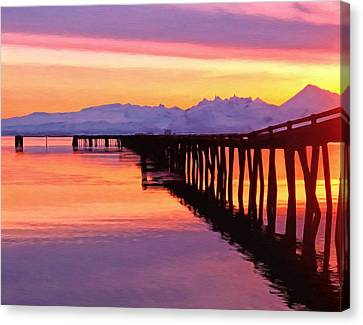 Dock At Cold Bay Canvas Print by Michael Pickett
