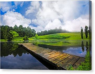 Dock At The Winery Canvas Print by Debra and Dave Vanderlaan