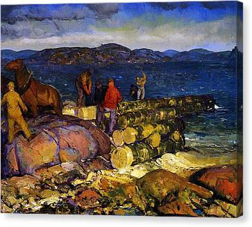 Dock Builders Canvas Print by George Wesley Bellows
