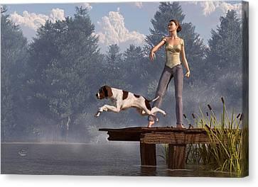 Dock Dog Canvas Print by Daniel Eskridge