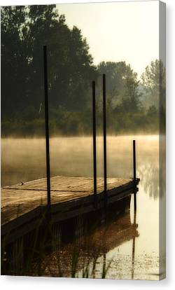 Canvas Print featuring the photograph Dock In The Mist by Kimberleigh Ladd
