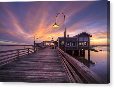 Dock Lights At Dusk Canvas Print by Debra and Dave Vanderlaan