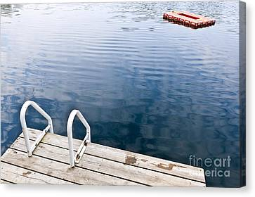 Dock On Calm Summer Lake Canvas Print by Elena Elisseeva