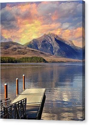 Dock On Lake Mcdonald Canvas Print by Marty Koch