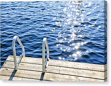 Dock On Summer Lake With Sparkling Water Canvas Print by Elena Elisseeva
