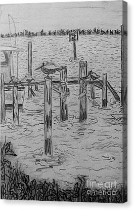 Dock Sketch Canvas Print by Megan Dirsa-DuBois