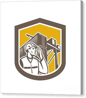 Dock Worker On Phone Container Yard Shield Canvas Print by Aloysius Patrimonio