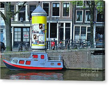 Canvas Print featuring the photograph Docked In Amsterdam by Allen Beatty