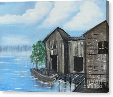 Canvas Print featuring the painting Docked At Bayou by Mindy Bench