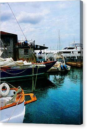 Canvas Print featuring the photograph Docked Boats In Newport Ri by Susan Savad