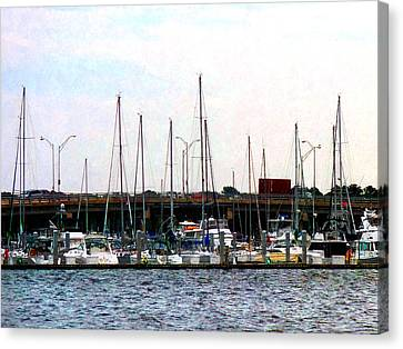 Canvas Print featuring the photograph Docked Boats Norfolk Va by Susan Savad
