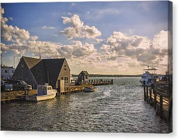 Docked Boats Woods Hole Cape Cod Ma  Canvas Print by Marianne Campolongo