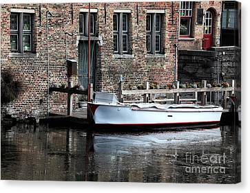 Docked In Bruges Canvas Print