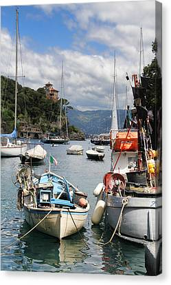 Docked In Portofino Canvas Print by Nancy Ingersoll
