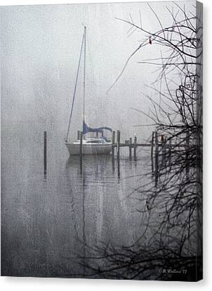 Docked In The Fog - Texture Effect Canvas Print by Brian Wallace