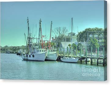 Docked Shrimp Boats Canvas Print