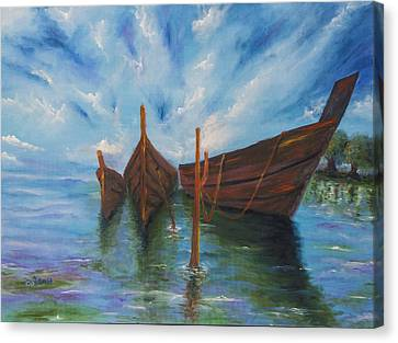Boats In Water Canvas Print - Docking by Music of the Heart