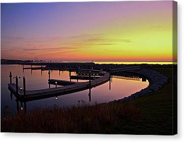 Docks At Sunrise Canvas Print by Jonah  Anderson