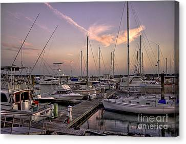 Dockside Sunset In Beaufort South Carolina Canvas Print by Reid Callaway