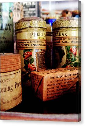 Canvas Print featuring the photograph Doctor - Liver Pills In General Store by Susan Savad