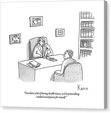 Doctor Speaks To Patient Over Desk Canvas Print