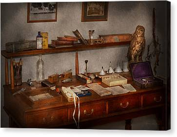 Doctor - Vet - The Desk Of A Veterinarian Canvas Print by Mike Savad