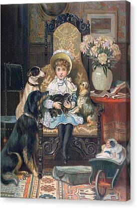 Youthful Canvas Print - Doddy And Her Pets by Charles Trevor Grand