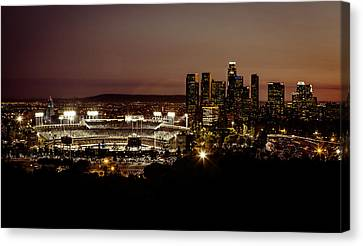 Building Canvas Print - Dodger Stadium At Dusk by Linda Posnick