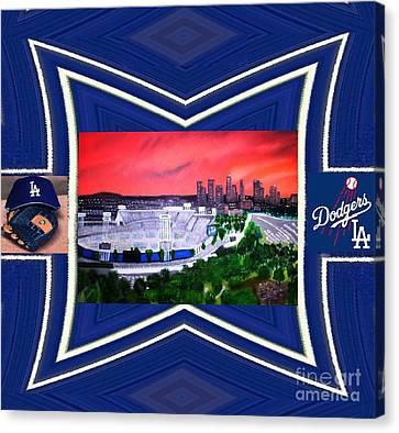 Dodger Stadium Framed Canvas Print