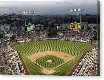 Dodger Stadium Canvas Print - Dodger Stadium In The Evening by Mountain Dreams