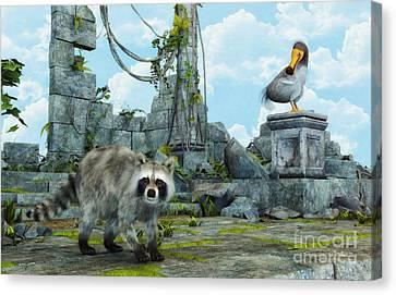Dodo Meets Raccoon Canvas Print by Jutta Maria Pusl