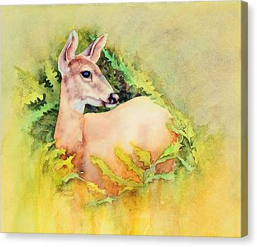 Canvas Print featuring the painting Doe In Ferns by Bonnie Rinier