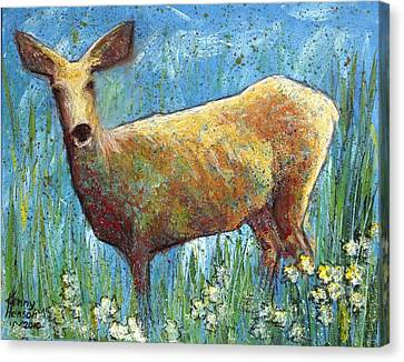 Canvas Print featuring the mixed media Doe by Kenny Henson